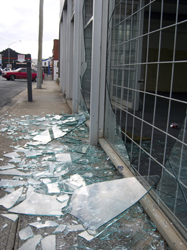 Broken shop window